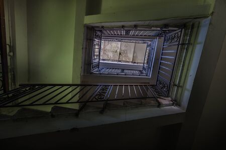 high stairway in a abandoned factory Stockfoto