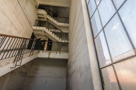High stairway in a deserted switchover