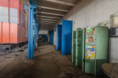 Colorful boxes and doors in an old factory Stockfoto