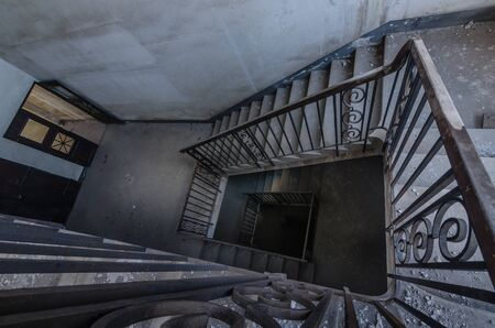 deep staircase in a deserted switchover