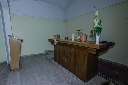 Chapel in old abandoned hospital