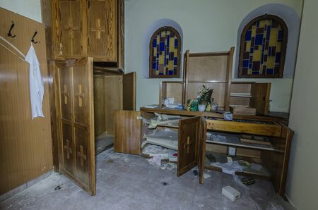 Sacristy in abandoned chapel in a church