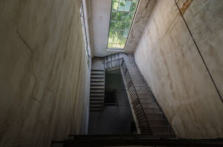 high staircase and many steps in an old switchover