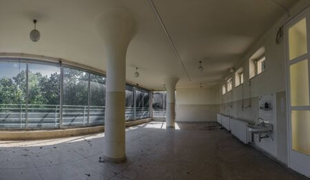 Empty beautiful room with columns in a hospital