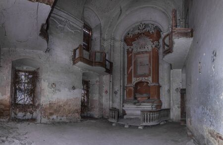 abandoned church with altar panorama view