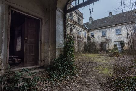 Grown courtyard from an abandoned castle Imagens
