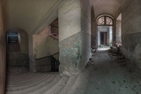 staircase with vault in a abandoned castle panorama view Reklamní fotografie