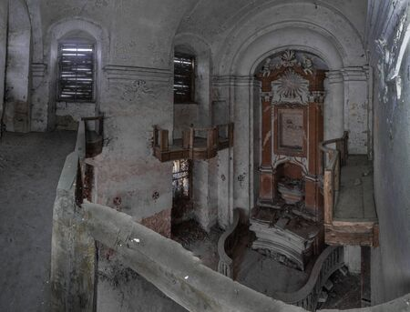 old abandoned church view from above panorama