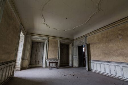 empty room with ornaments in an old castle