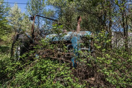 overgrown blue tractor in nature at a farm Imagens
