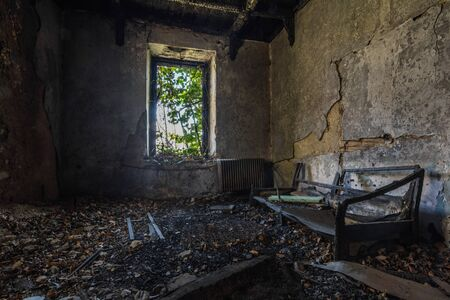 dark empty room after a fire in a house Stok Fotoğraf