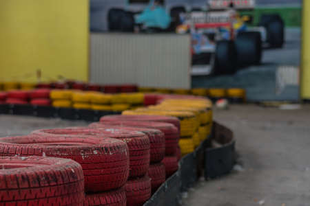 colorful tires in a abandoned cart hall