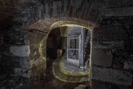 dark vault in a cellar from a old abandoned castle Archivio Fotografico
