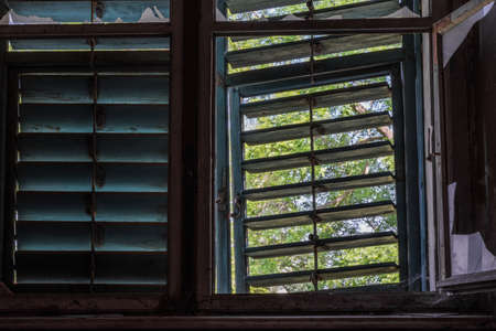 window with wooden sun protection in a castle Archivio Fotografico