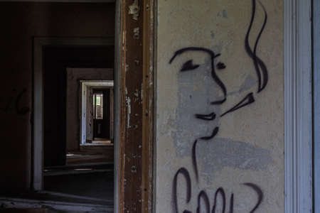 graffiti smoking face in a old castle