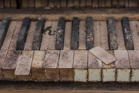 broken keys from a piano in a abandoned house detail view Archivio Fotografico