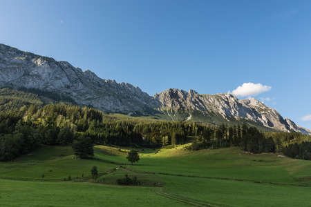 green nature landscpae with rocky mountains and blue sky