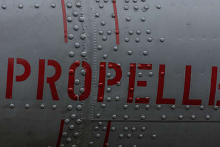 propeller label on a plane with rivets detail view