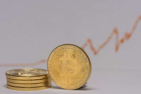 single bitcoin stands next to a stack of bitcoins with a stock market chart detail view