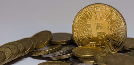 golden valuable bitcoin standing between other coins detail panorama view