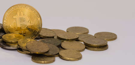 golden valuable bitcoin standing between other coins panorama view