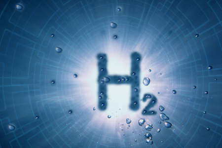 blue h2 underwater with sun and structure from the background