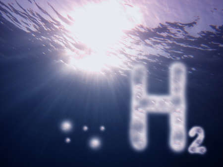 silver h2 hydrogen letters with sunbeam at the sea and surface blue color Banque d'images