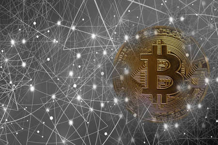 valueable golden bitcoin connected to the network silver background