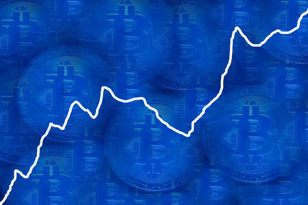 valueable many blue bitcoin crypto currency with blue background and a white rising chart