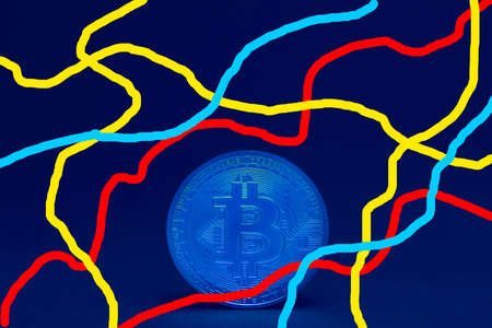 valueable blue bitcoin_crypto currency standing with colorful stipes