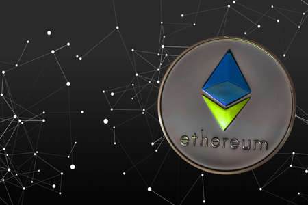 valueable colorful ether crypto currency connected to the network silver background