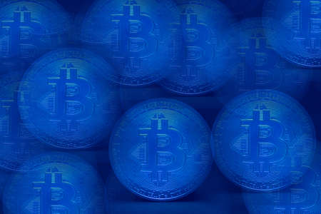 valueable many blue bitcoin crypto currency_with blue background