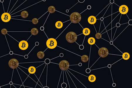 valueable many real and fake bitcoins connected in the dark network Banque d'images