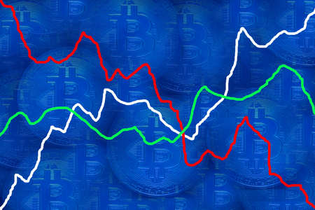 valueable many blue bitcoin_crypto currency with blue background and different charts