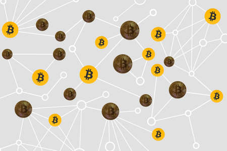 valueable many real and fake bitcoins connected in the network Banque d'images