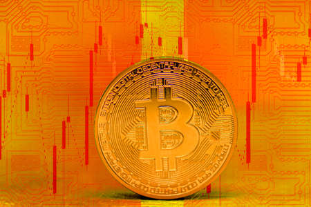 valueable single gold bitcoin coin with orange electrical circuit diagram and a rising chart