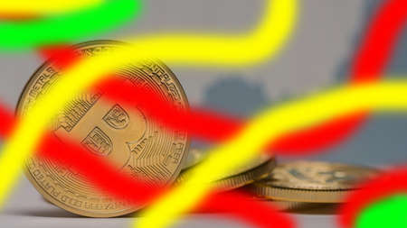 valueable bitcoin next to each other with colorful stipes Banque d'images
