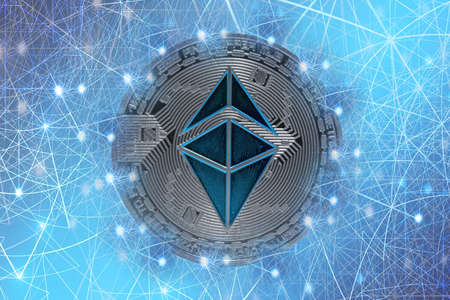 valueable silver blue ether crypto currency connected with the network