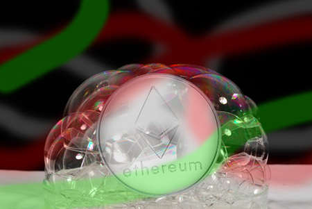 valueable silver ether crypto currency with colorful stripes behind many soap bubbles Banque d'images
