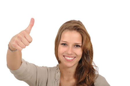 Young woman showing thumbs Stock Photo - 9986166