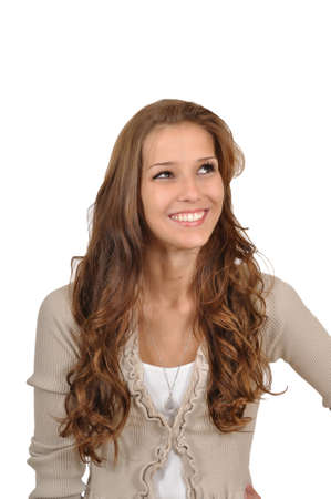 Young woman is thinking positive Stock Photo