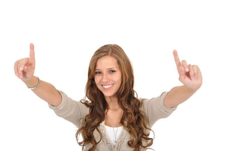 Student raises finger Stock Photo