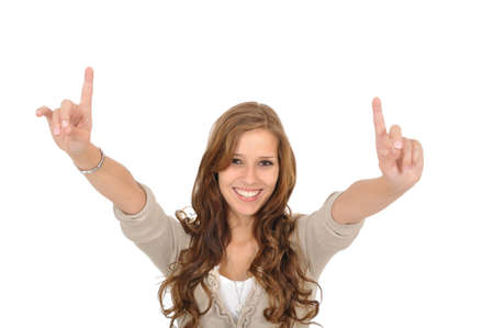 Young woman pulls finger up Stock Photo