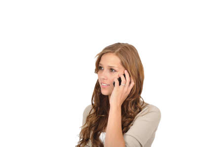Call center agent with mobile Stock Photo