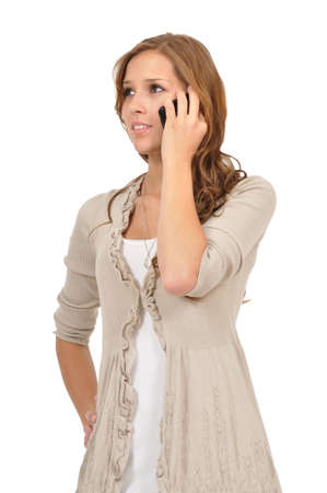 Thoughtful young woman telephoned Stock Photo