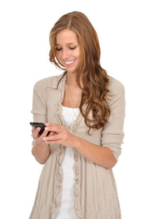 Young woman reading text message photo
