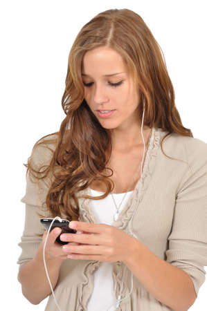 Young woman surfing the Web with a smartphone Stock Photo