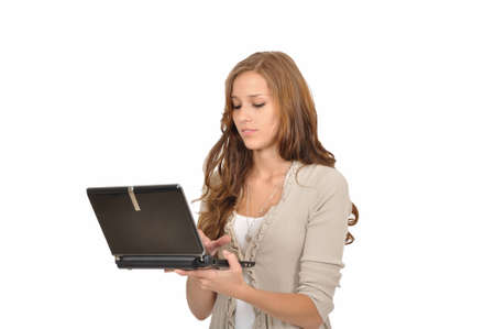 Student typing on the netbook Stock Photo - 9986287