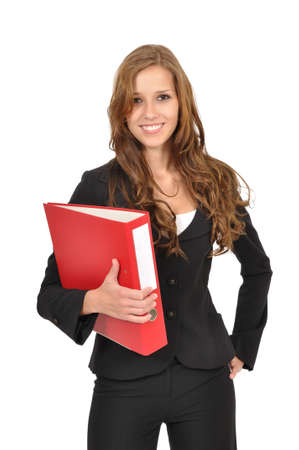 office force: Young woman holding a folder