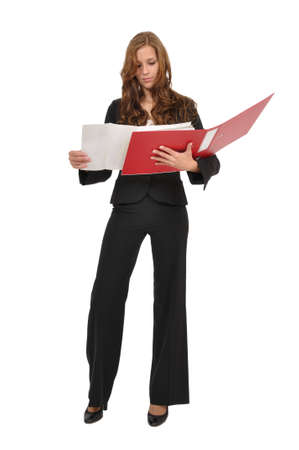 Woman in a suit regarded architectural drawing in red folder Stock Photo